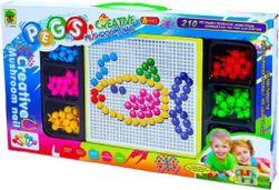 Mozaika vkládací barevné hříbky kreativní set 210ks s podložkou v krabici SR_126936