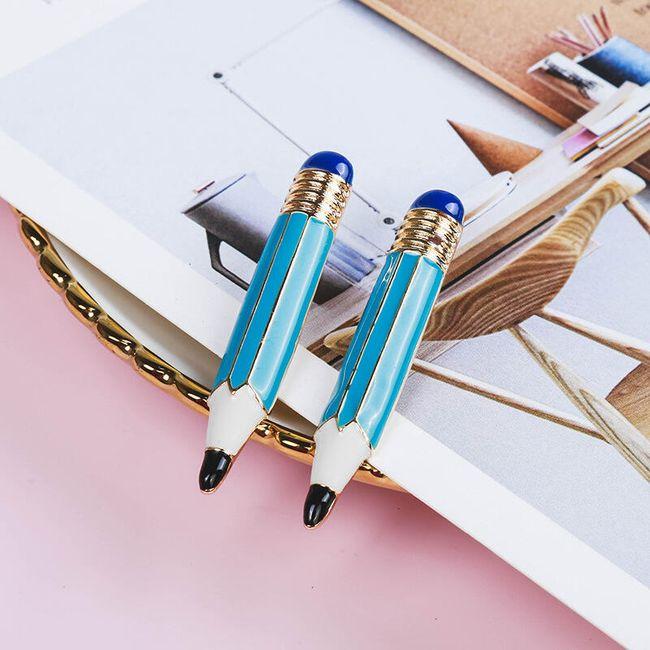 Dámské náušnice - Modrá tužka 1