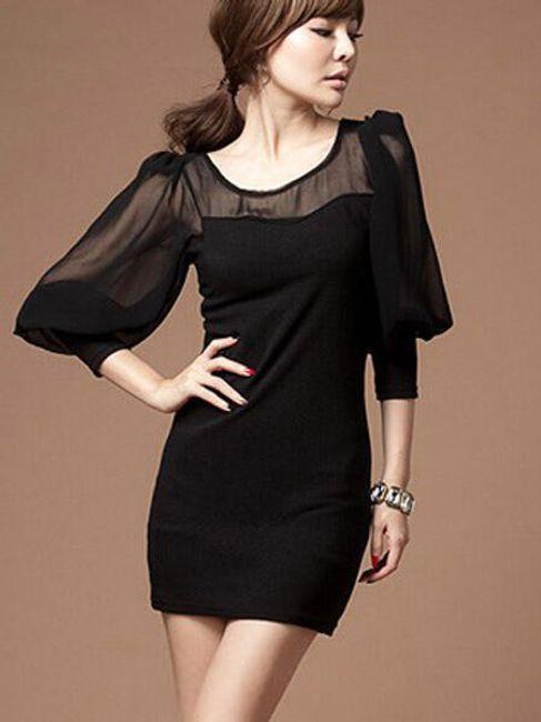 Černé šaty s průhlednými rukávy 1