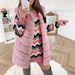 Dámská kožíšková vesta - růžová