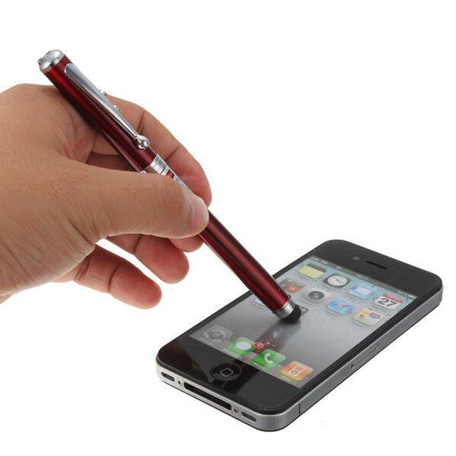 Dotykové pero - stylus - 4 v 1 - LED svítilna, laser, kuličkové pero 1