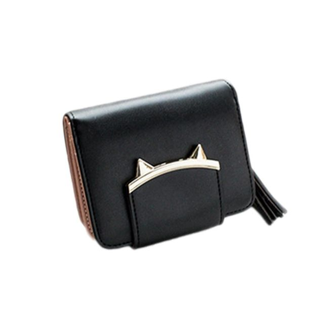 Kis pénztárca macska fülével és bojttal - különböző színű.