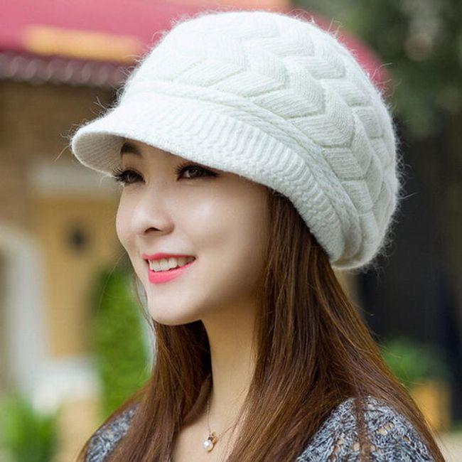 Zimní čepice s kšiltem - Bílá 1