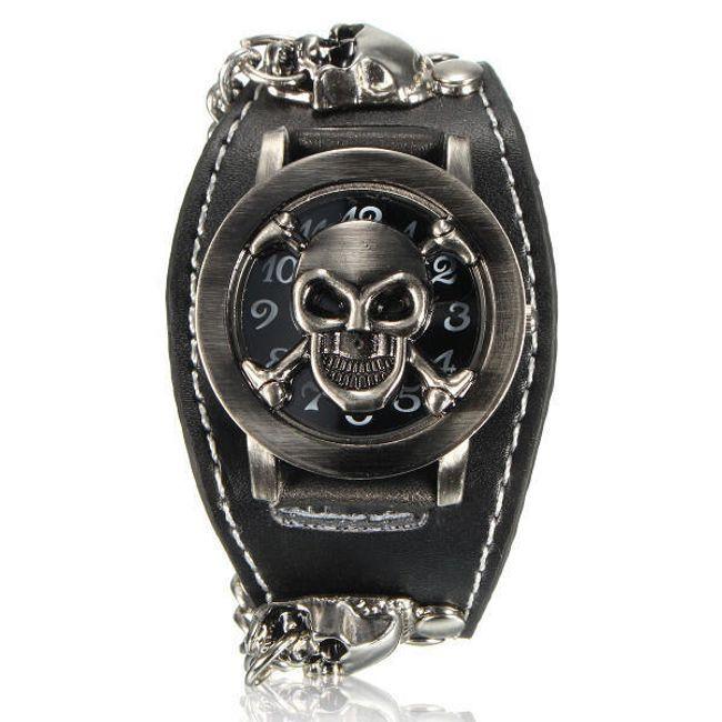 Náramkové hodinky s odklápěcí lebkou 1
