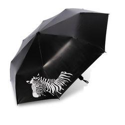 Deštník se zebrou v černé barvě