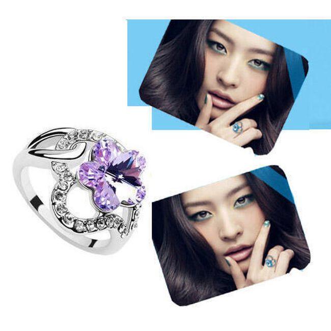 Prstýnek s dekorací ve tvaru květu - fialový kamínek 1