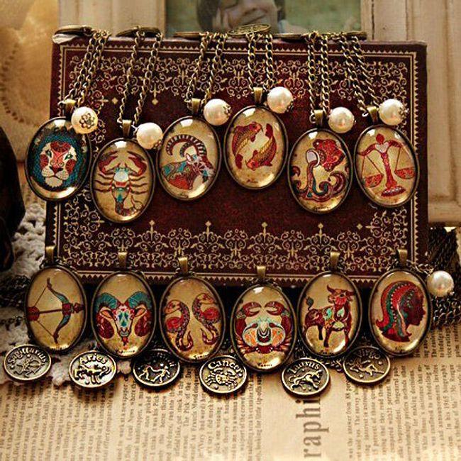 Retro náhrdelník s motivy zvěrokruhu 1