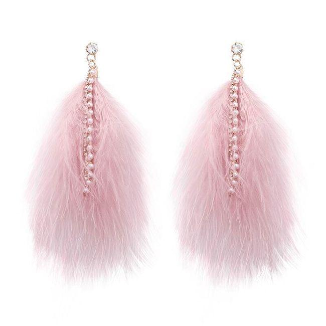 Peříčkové náušnice s perličkami - růžová barva 1