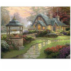 Istorijska slika kuće sa bunarom i kamenja za domaće zadatke