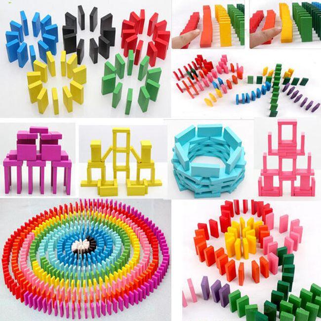 100 komada drvenih kockica u boji 1