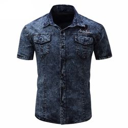 Męska koszulka dżinsowa - 2 kolory