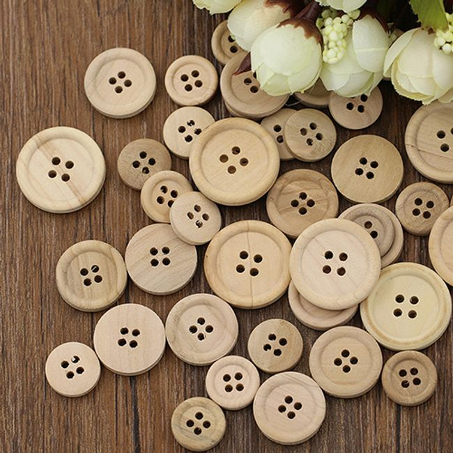 Drveni dugmići - 50 komada, 3 dimenzije 1