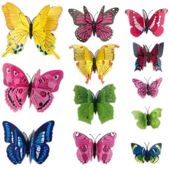 Set 12 okrasnih metuljev - različne variante 1