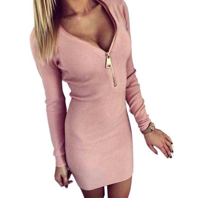 Luxusní dámské elastické šaty - růžové, vel. 4 1