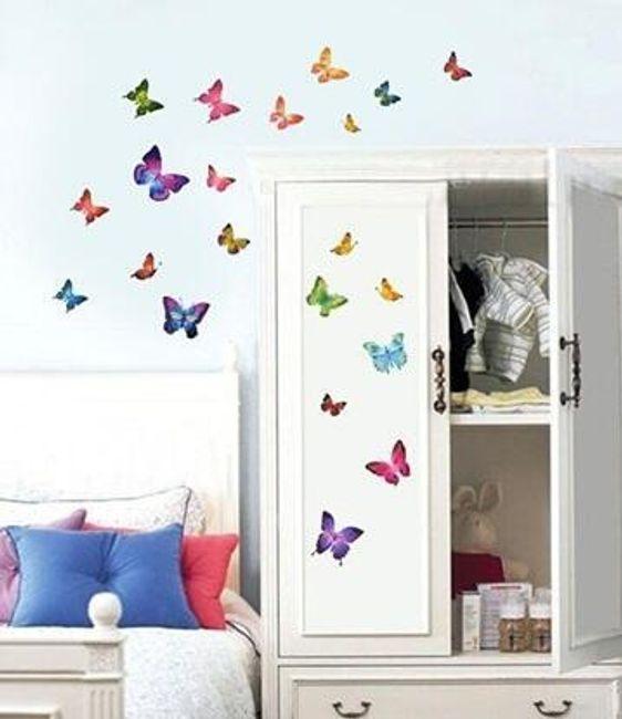 Naklejka na ścianę - kolorowe motylki 1