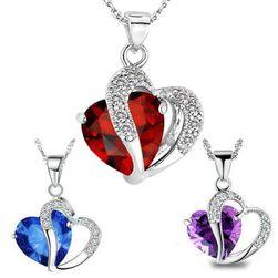 Colier cu pandantiv inimă dublă - multe culori