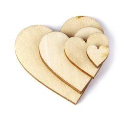 Дървени сърца - 100 бр