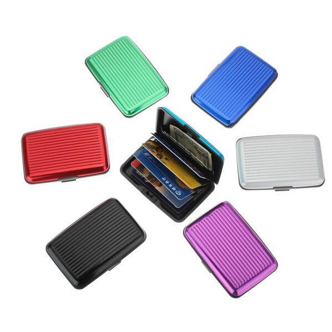 Vízálló alumínium tok hitelkártyákhoz és névjegykártyákhoz, 6 színben 1