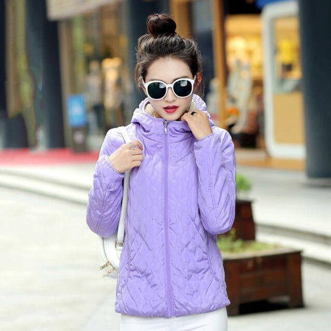 Dámská podzimní bunda s kapucí - Fialová-velikost č. 6 1