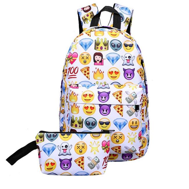Studentský batoh se smajlíky a pouzdrem 1
