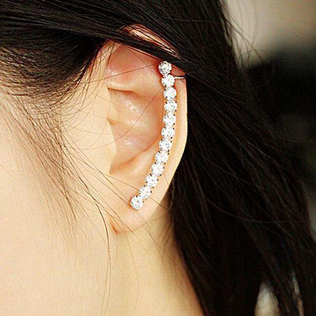Dolgi uhani za eno uho - srebrne barve 1