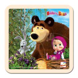 Máša a Medvěd puzzle se zajícem 15x15cm RS_16115