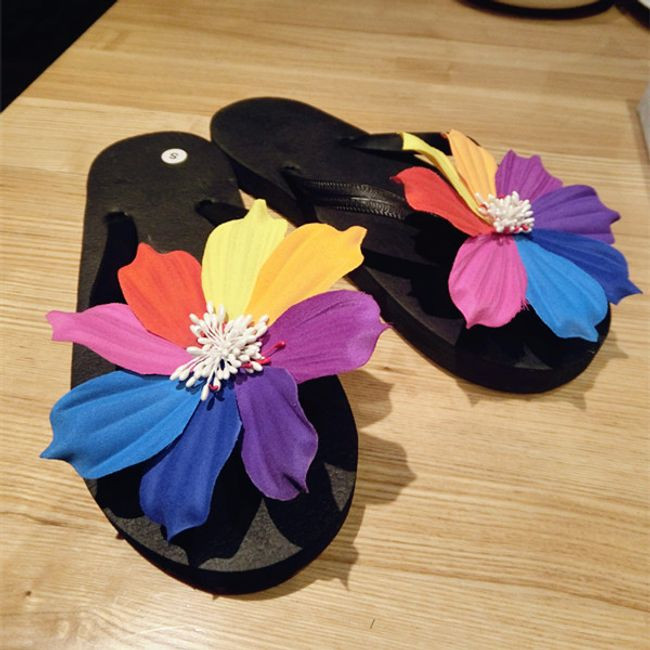 Plážové žabky s duhovou květinou - 3 barvy 1