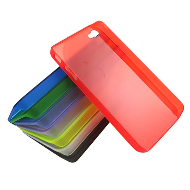 8ks plastový ochranný kryt na iPhone 4 a 4S - průsvitný, matný 1