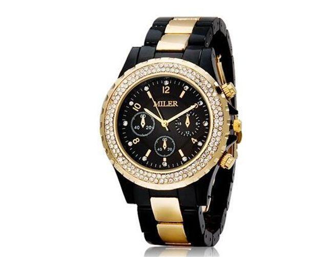 Damski zegarek MILLER z przeźroczystymi kamyczkami - czarno-złoty 1