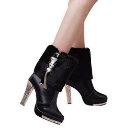 Boty s kožíškem na vysokém podpatku