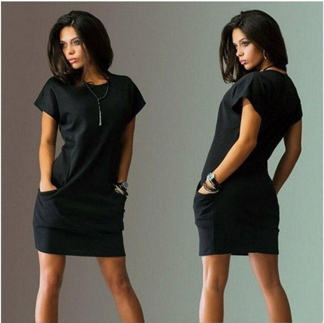 Dámské volné šaty s kapsami - Černá-velikost č. 3 1