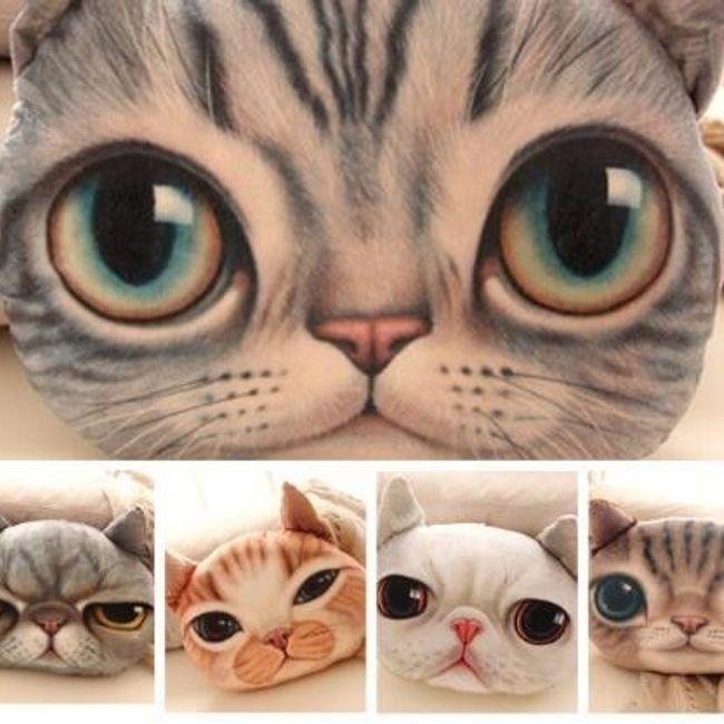 3D плюшевая подушка и виде кошачьей головы 1