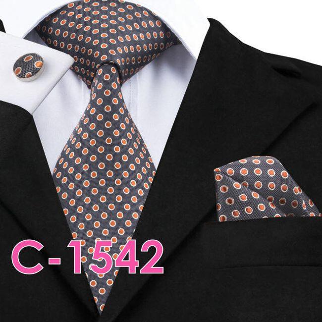 Férfi nyakkendő mandzsettagombokkal és zsebkendővel - 20 változat