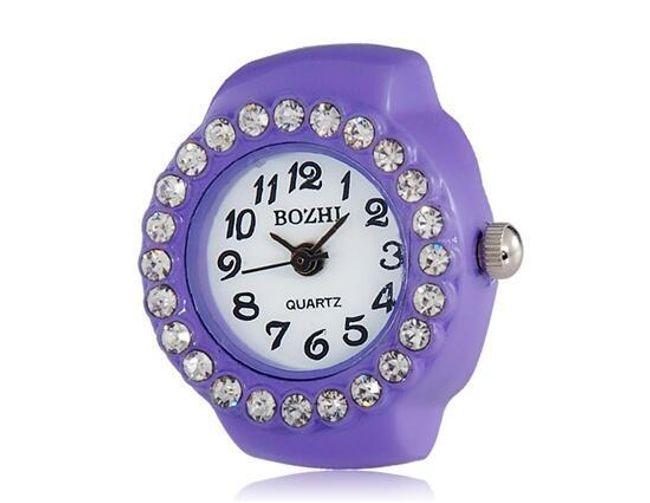 Barevné prstýnkové hodinky s třpytivými kamínky - 3 barvy 1