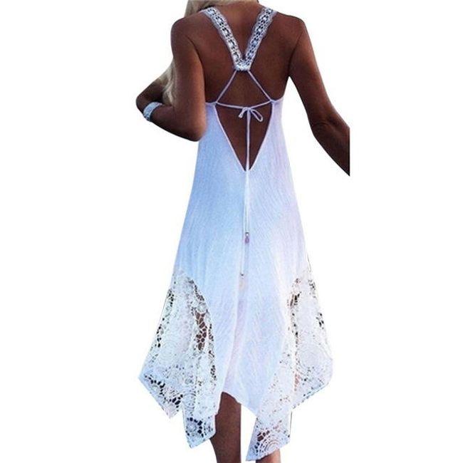 Plážové šaty s krajkovou aplikací - Bílá-velikost č. 2 1