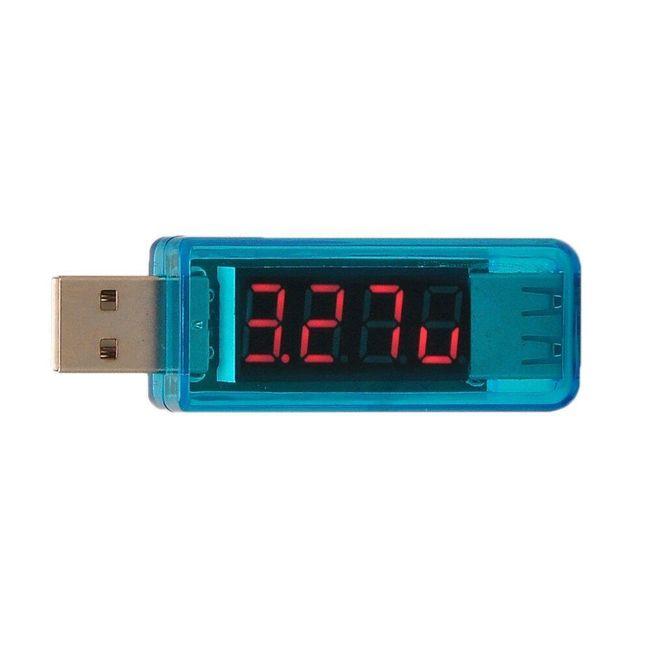 Przenośny USB woltomierz i amperomierz - niebieski 1