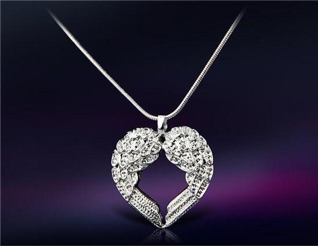 Ogrlica s srčnim obeskom iz angelskih kril 1