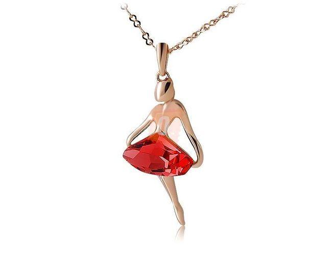 Náhrdelník s dívkou s červeným kamenem - zlatá barva 1