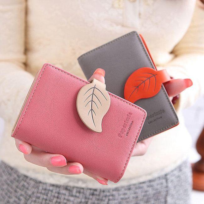 Női pénztárca levéllel - 5 színben