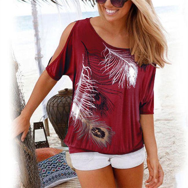 Ženska majica sa perjem i obnaženim ramenima - 9 boja 1