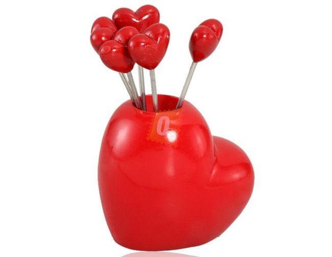 Sada napichovacích vidliček s motivem srdce - červená 1