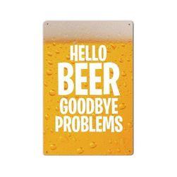 Afiș metalic retro Hello Beer