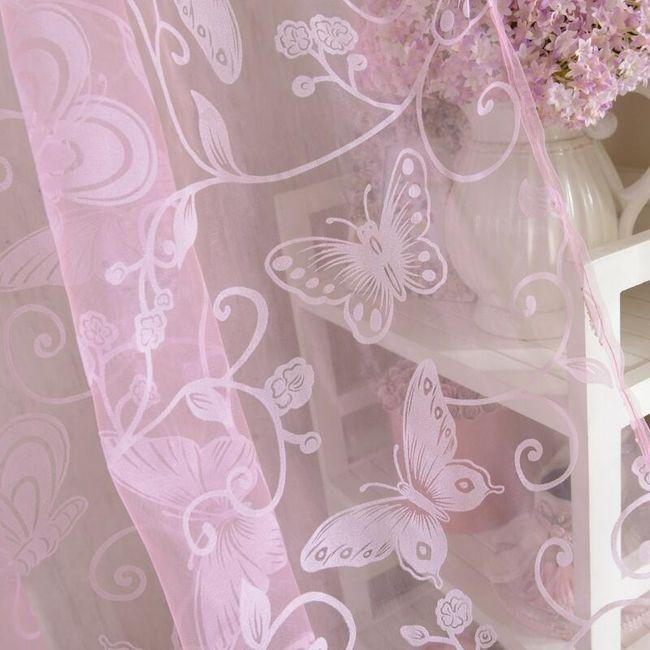 Zavesa z metulji in rožicami - 3 barve 1