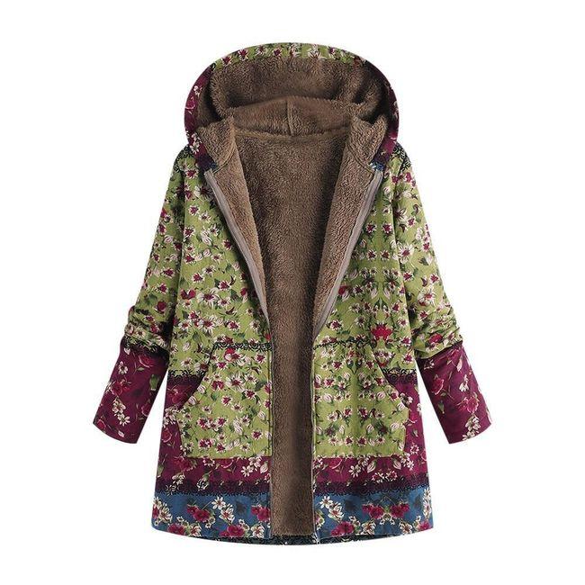 Dámský kabát s květinovým potiskem 1