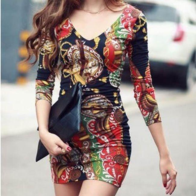 Dámské šaty s dlouhým rukávem a barevným potiskem 1