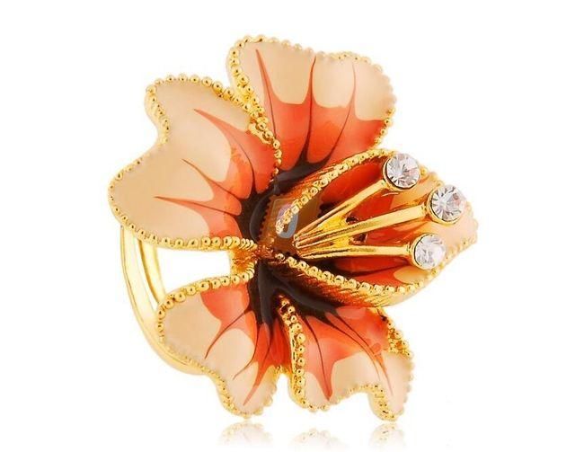Prstýnek s 3D květinou - zlatá barva 1