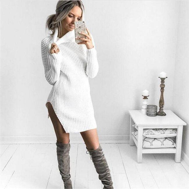 Dlouhý svetr s rolákem - Bílá-M 1