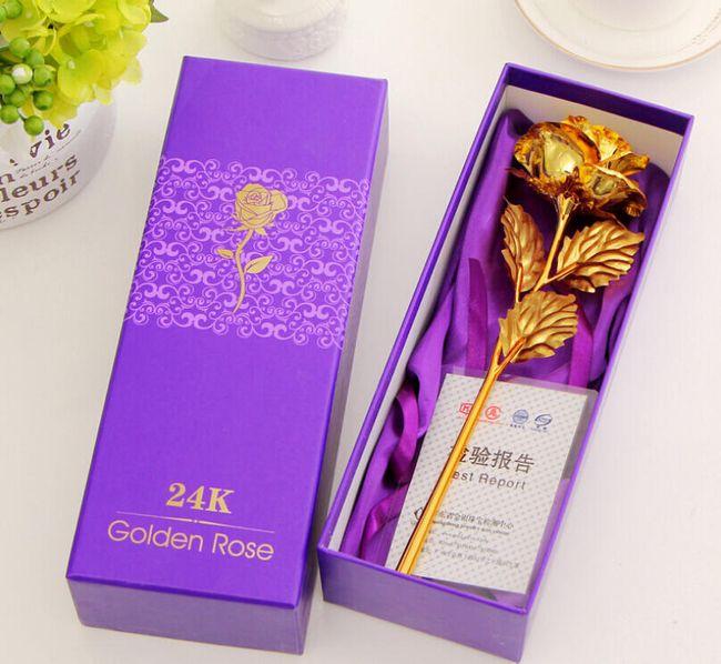 Dekoracyjna podarunkowa złota róża 1