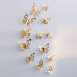12 3D пеперуди за стената - 2 цвята / 3 размера