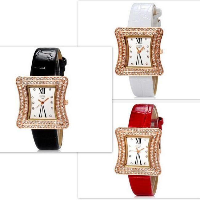 Dámské hodinky s netradičně tvarovaným ciferníkem - ve 3 barvách 1